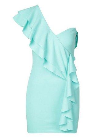 Petite One Shoulder Frill Bodycon Dress | Boohoo mint