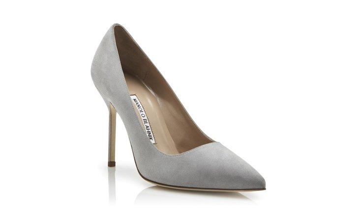 BB | Grey Suede Pointed Toe Pumps | Manolo Blahnik
