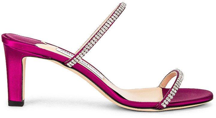 Brea 65 Satin Sandal in Magenta & Crystal | FWRD