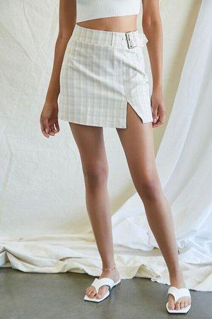 Belted Plaid Mini Skirt