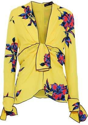 Knotted Floral-print Silk Crepe De Chine Blouse