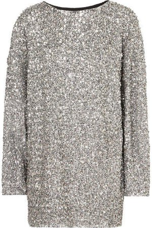 Xana Oversized Embellished Crepe Mini Dress - Silver
