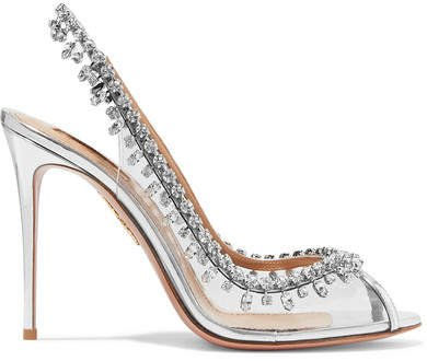 Temptation 105 Embellished Metallic Leather And Pvc Slingback Pumps - Silver