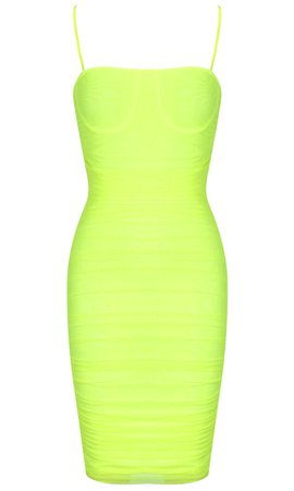 Ruched Mesh Dress Neon - Luxe Dresses and Luxe Party Dresses