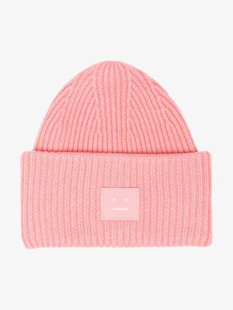 Acne Studios pink Pansy Face ribbed wool beanie | Hats | Browns