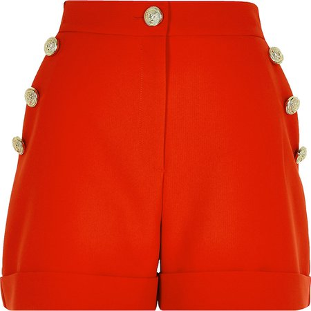 Red button front shorts | River Island