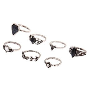 Silver Gothic Glam Rings - Black, 7 Pack