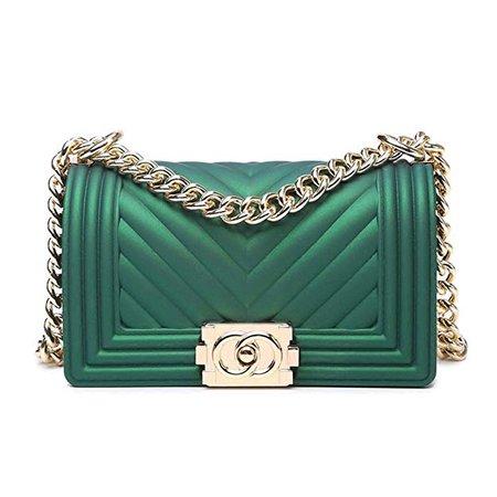 Classic Silicon Quilted Crossbody Bag Luxury Shoulder Handbags Purses For Womens Girls (V Green M): Handbags: Amazon.com