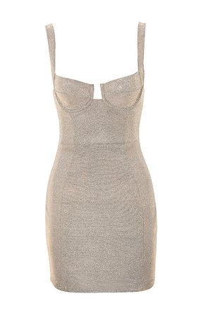 Clothing : Bodycon Dresses : 'Luisa' Silver Sparkly Bustier Mini Dress