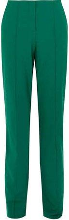Wool-blend Straight-leg Pants - Green