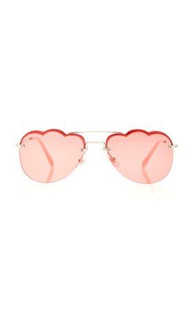 Aviator-Style Metal Sunglasses by Miu Miu   Moda Operandi