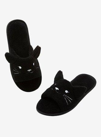 Black Cat Fuzzy Spa Slippers