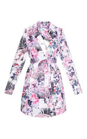 Lilac Oriental Print Satin Long Sleeve Blazer Dress | PrettyLittleThing