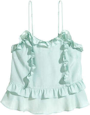 Camisole Top with Flounce - Green