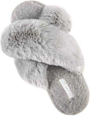 Amazon.com   HALLUCI Women's Cross Band Soft Plush Fleece House Indoor or Outdoor Slippers (9-10, Grey)   Slippers