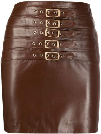 Manokhi Dita buckled leather skirt