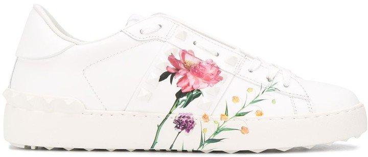 floral print Rockstud leather sneakers