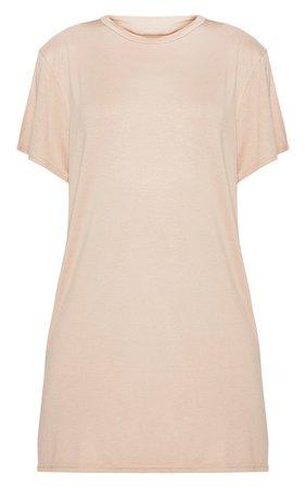 Basic Nude Short Sleeve T-Shirt Dress   PrettyLittleThing USA