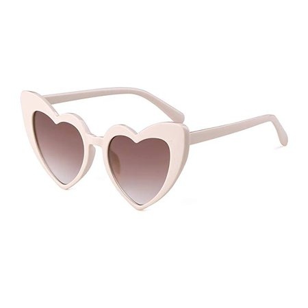 Amazon.com: BOLD Retro Heart MOD Thick Frame Clout Goggles Cat Eye Lens Sunglasses (Grey lense Red frame, 50): Clothing