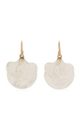 Ginkgo Cluster 14k Yellow Gold Mother-Of-Pearl Earrings By Annette Ferdinandsen | Moda Operandi
