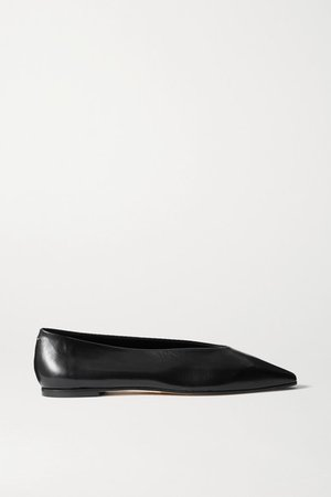 Betty Leather Flats - Black