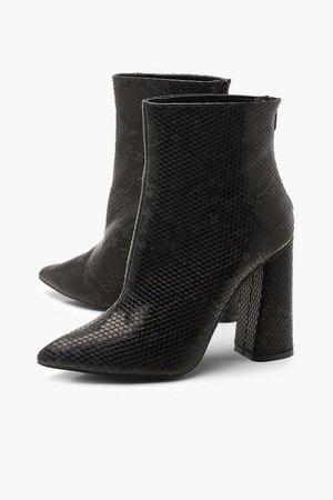 Snake Flared Heel Shoe Boots | Boohoo