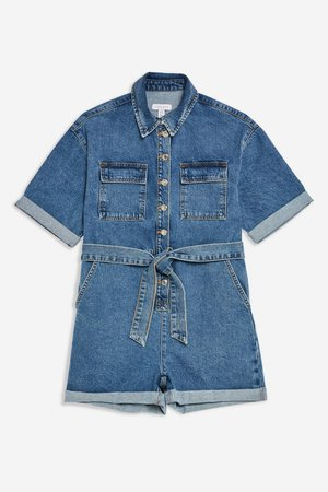 Blue Denim Button Playsuit - Rompers & Jumpsuits - Clothing - Topshop USA
