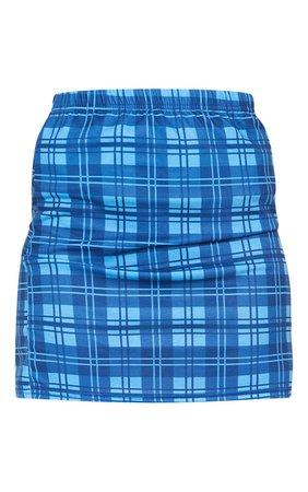 Bright Blue Check Mini Skirt | PrettyLittleThing