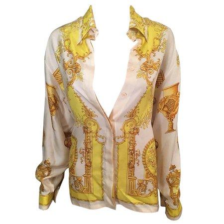 Gianni Versace Vintage Plunging Neckline Silk Shirt Top For Sale at 1stdibs