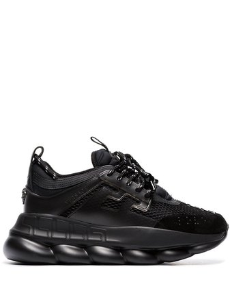 Versace Black Chain Reaction Chunky Faux Leather Sneakers - Farfetch