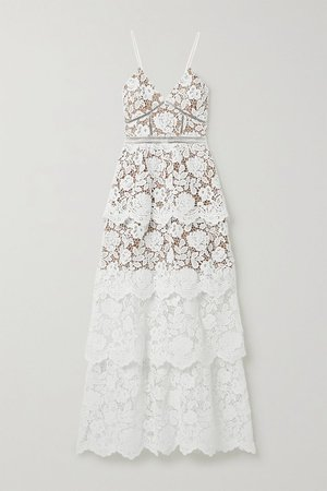 Ivory Crochet-trimmed tiered corded lace gown   Self-Portrait   NET-A-PORTER