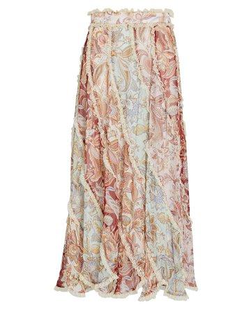 Zimmermann Ladybeetle Silk Floral Spliced Skirt   INTERMIX®