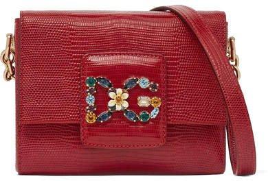 Millennials Embellished Lizard-effect Leather Shoulder Bag - Red