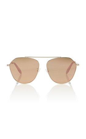 Alexander McQueen Sunglasses Gold-Tone Mirrored Aviator-Style Sunglasses