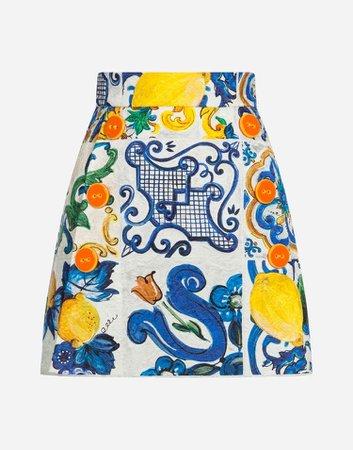 Dolce & Gabbana - Majolica-print brocade skirt ($995)