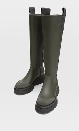 KHAKI Flat boots with slanted sole - Women's Just in   Stradivarius United States