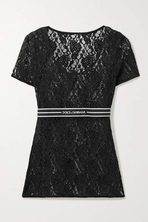 Jacquard-trimmed Lace Top - Black