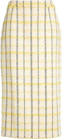 Plaid Tweed Pencil Skirt