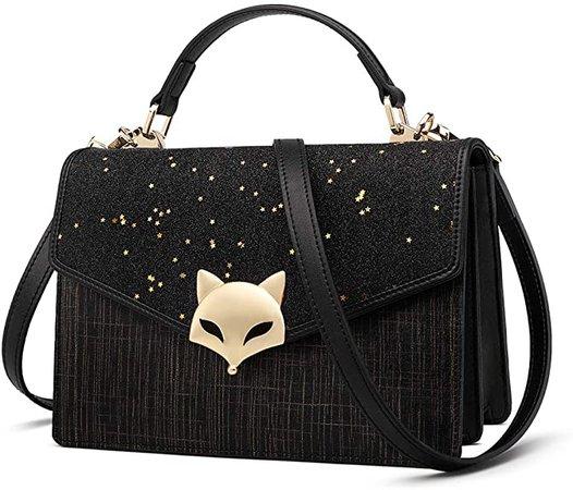 Small Leather Handbags for Women, Genuine Leather Starry Design Magnetic Closure Mini Ladies Crossbody Shoulder Bags Glett Leather Women's Designer Top-handle Bags Girls Fashion Casual Satchel (Black): Handbags: Amazon.com