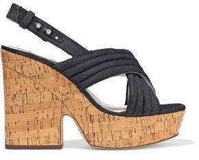 Charlize Quilted Denim Platform Slingback Sandals