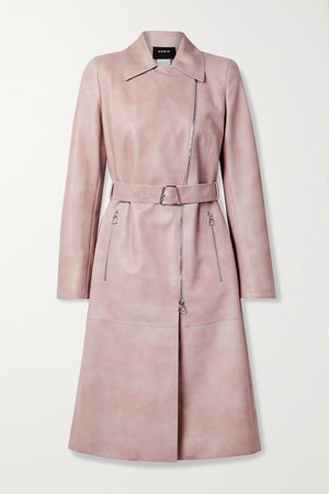 Olesia Belted Leather Trench Coat - Pastel pink