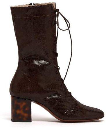 Forever Lace Up Lizard Effect Suede Boots - Womens - Dark Brown