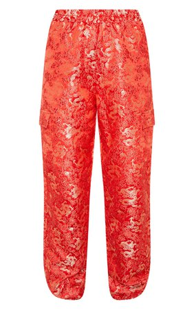 RED ORIENTAL JACQUARD CARGO JOGGER