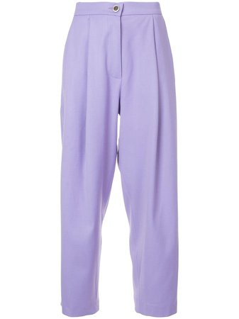Purple Natasha Zinko Wide-Leg Cropped Trousers | Farfetch.com