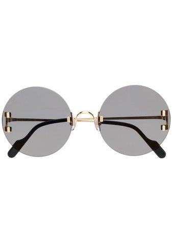 Cartier Eyewear C Décor round-frame Sunglasses - Farfetch