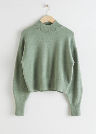 Mock Neck Sweater - Green - Sweaters - & Other Stories