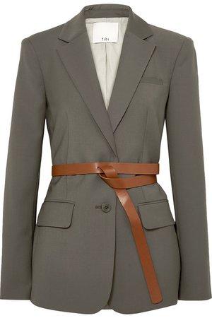 Tibi   Tablier belted woven blazer   NET-A-PORTER.COM