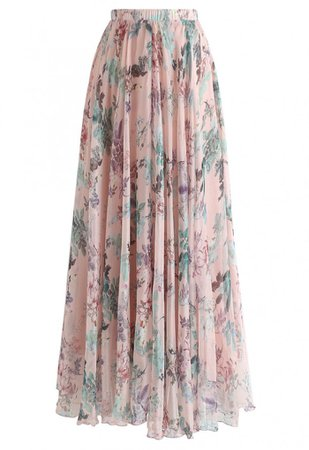 Pinky Blossom Watercolor Maxi Skirt - Skirt - BOTTOMS - Retro, Indie and Unique Fashion