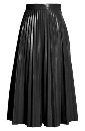 MM6 Maison Margiela Pleated Faux Leather Midi Skirt | Nordstrom