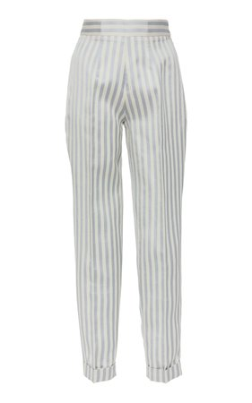 Brock Collection Older Stripe Twill Straight-Leg Pants